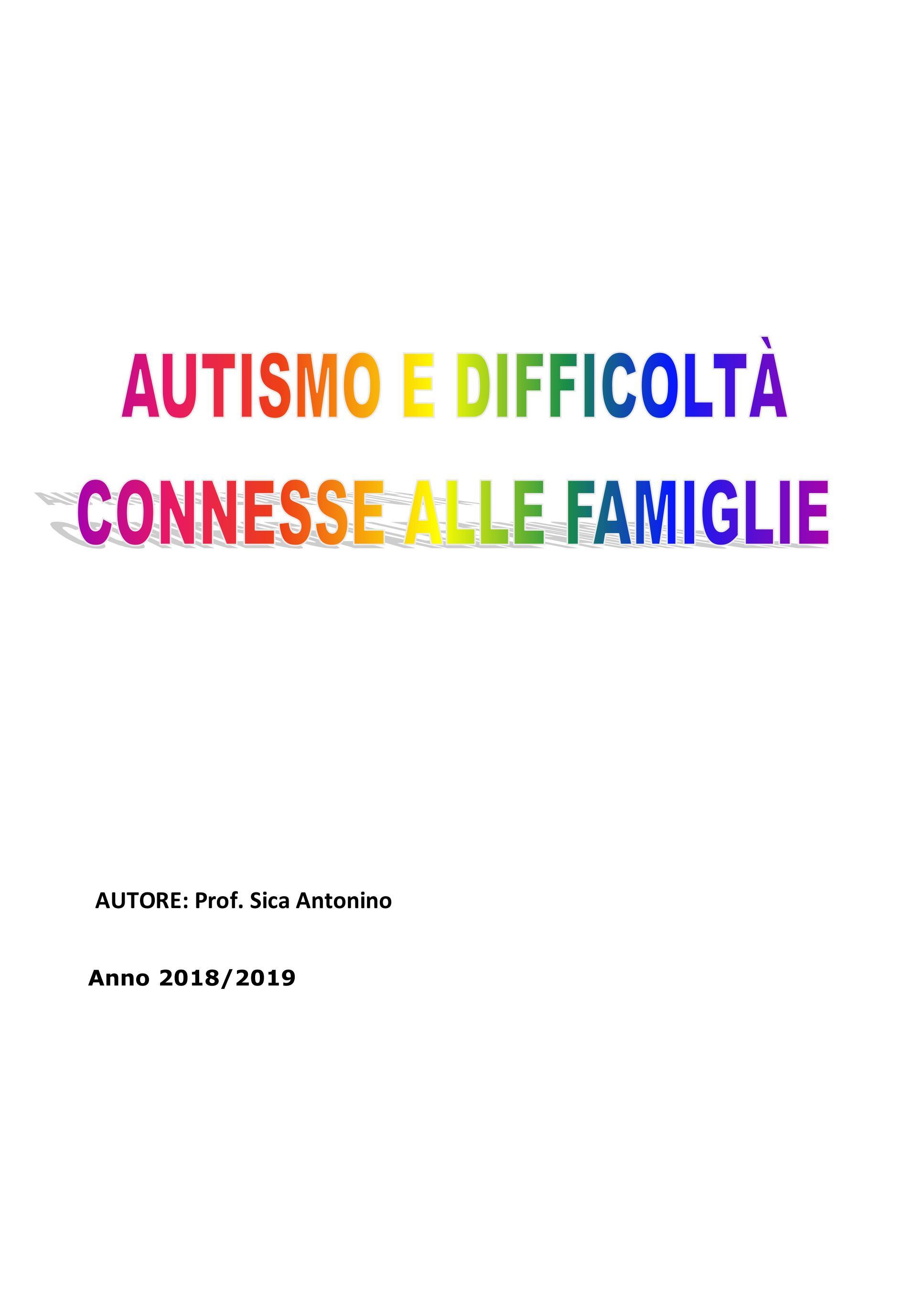 Autismo e difficoltà connesse alle famiglie
