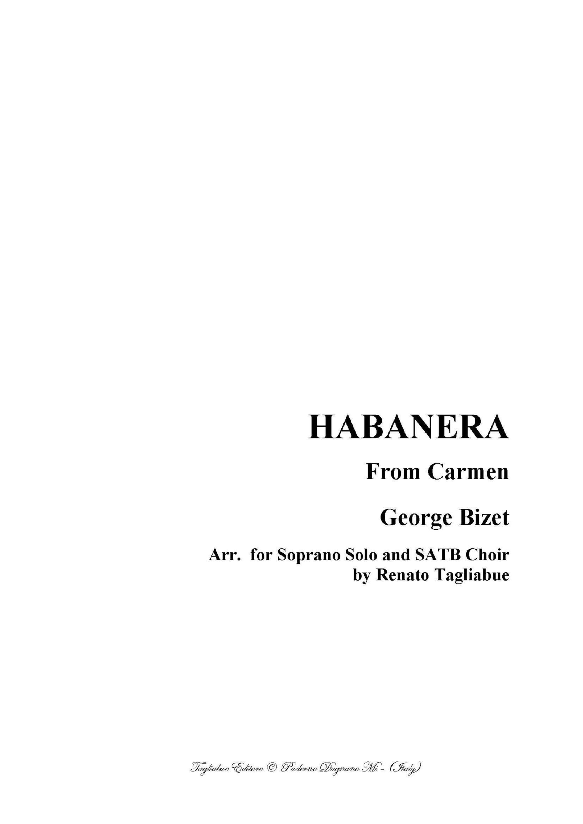 """HABANERA - From the """"Carmen"""" by Bizet - Arr. for Soprano and. SATB Choir"""