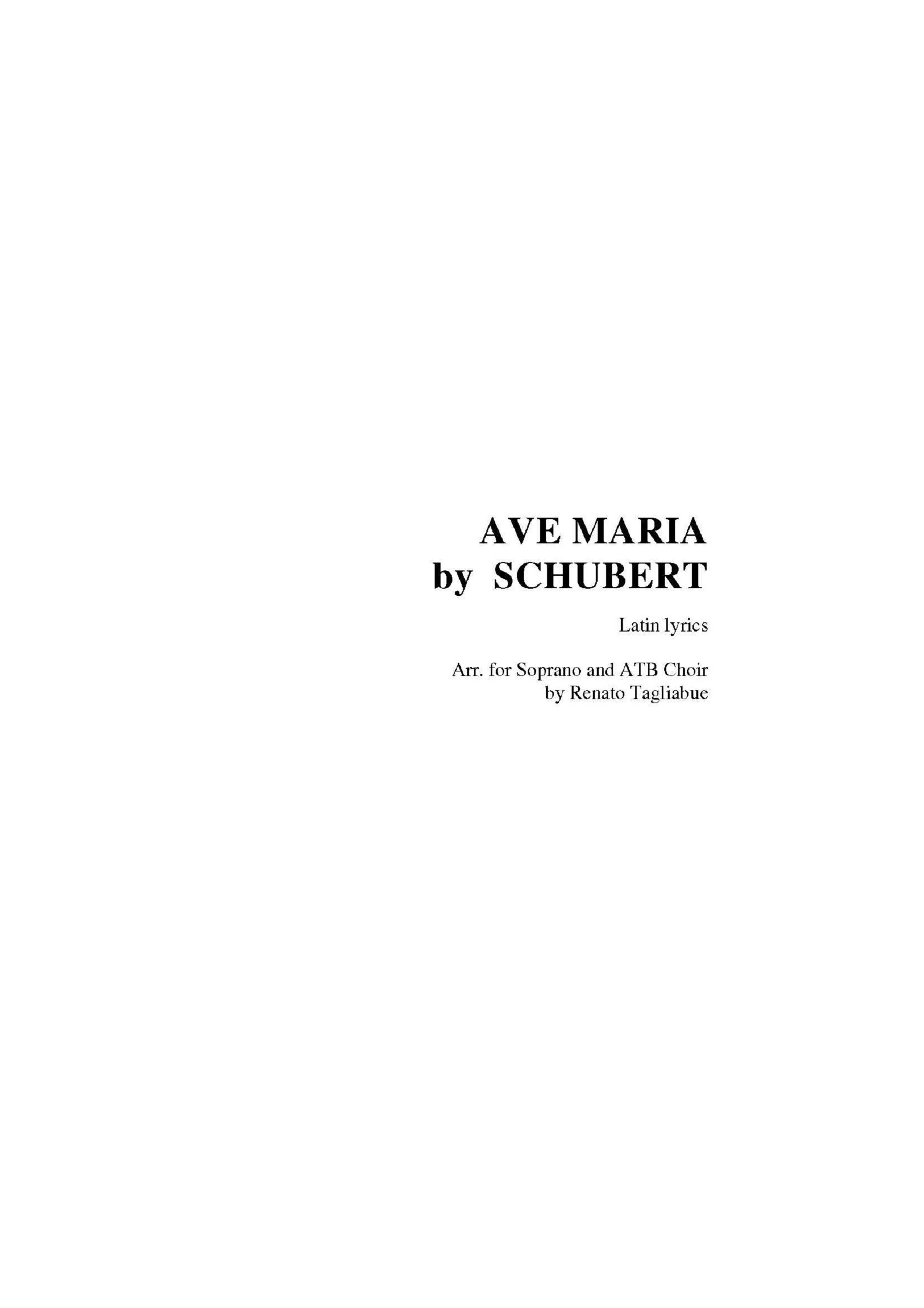 AVE MARIA by SCHUBERT - Arr. for Soprano (or Tenor), ATB Choir and Piano - Latin Lyrics