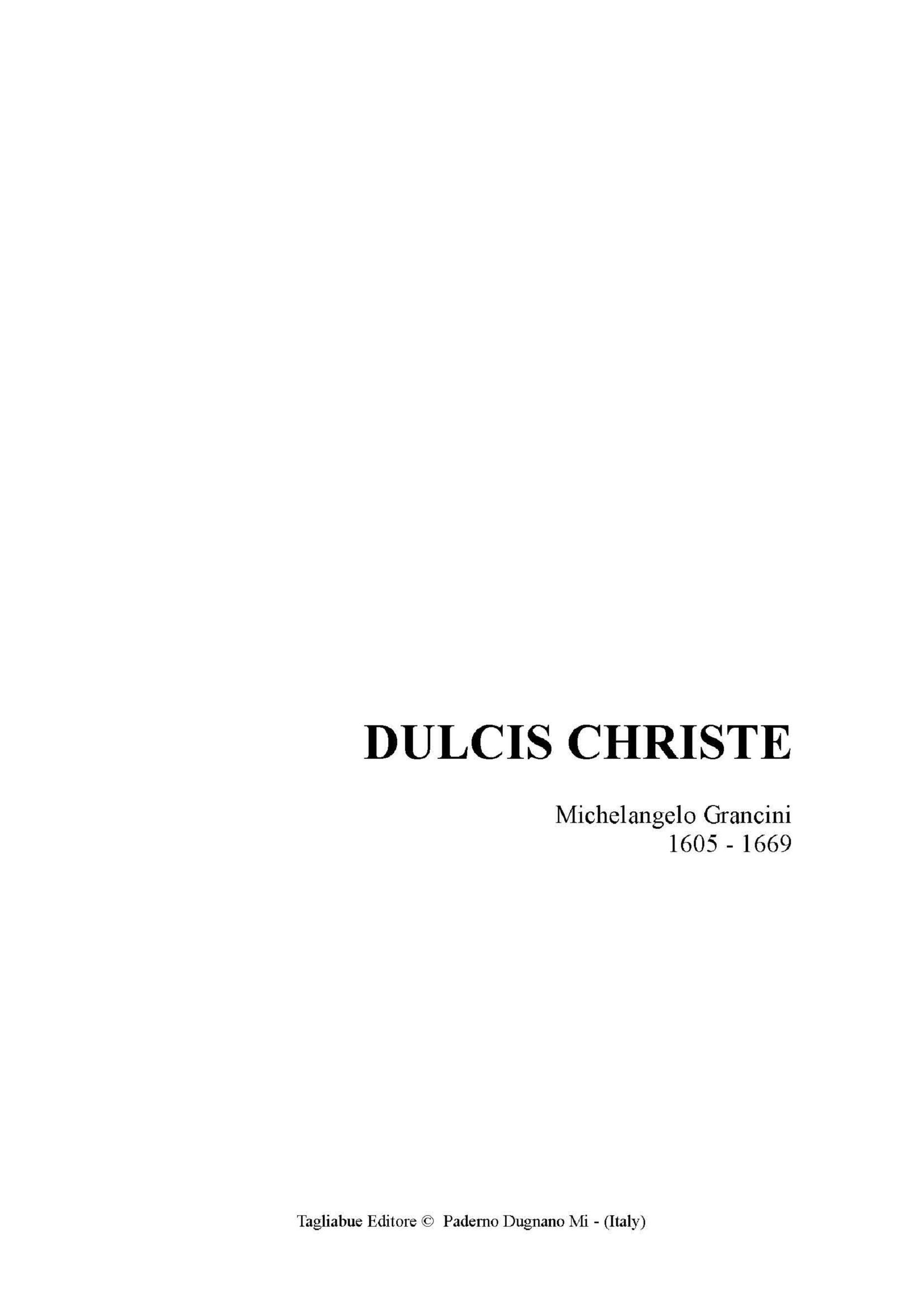DULCIS CHRISTE - Grancini M. - For SA Choir (or Soli) and Organ