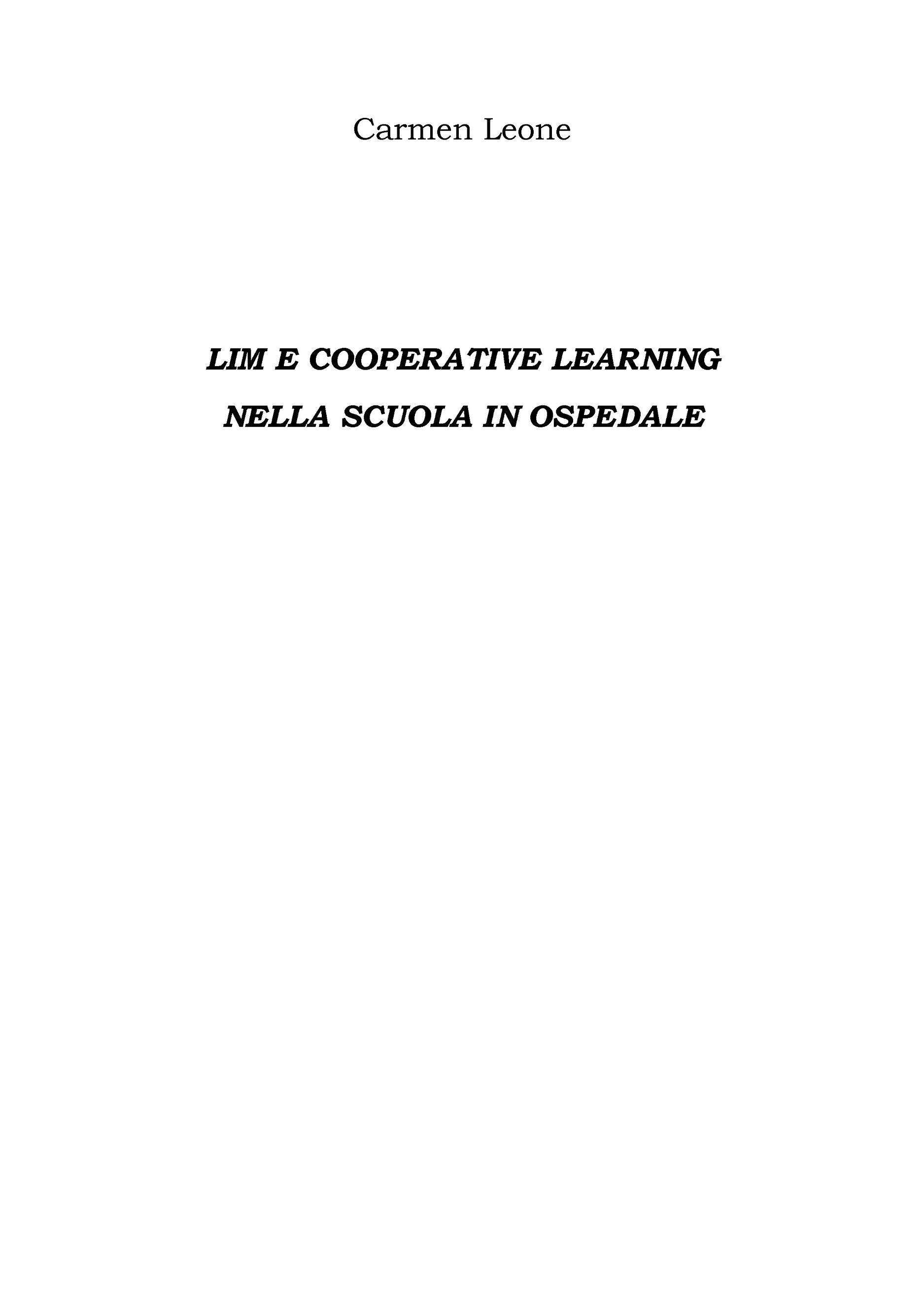 Lim e cooperative learning Nella scuola in ospedale