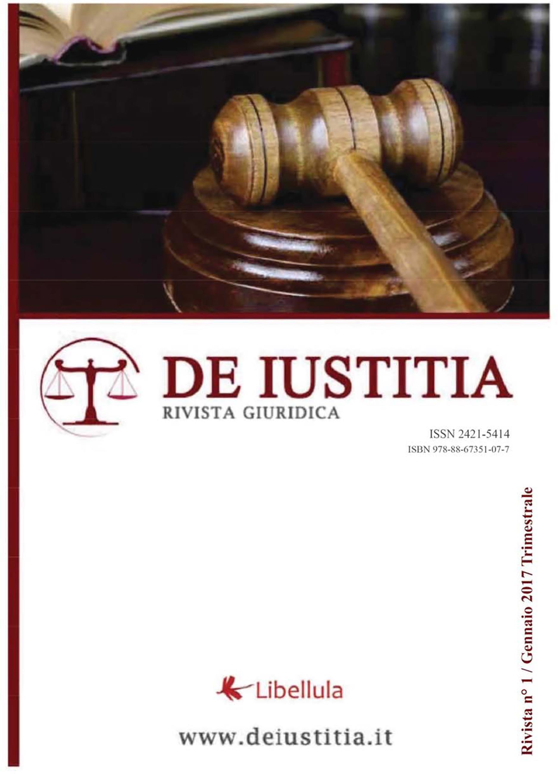De Iustitia - Rivista di informazione giuridica - N. 1 Gennaio 2017
