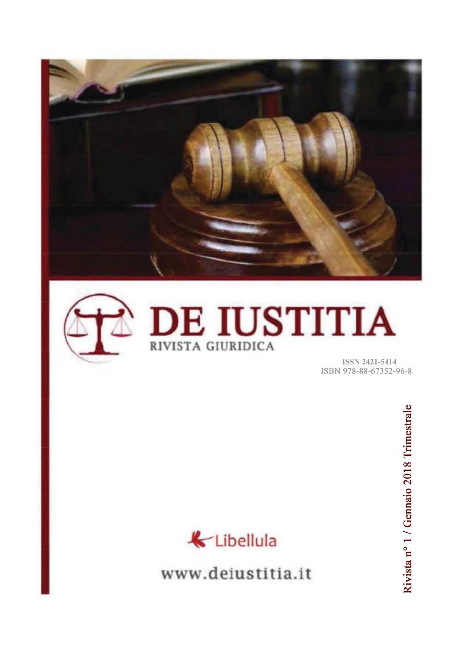 De Iustitia - Rivista di informazione giuridica - N. 1 Gennaio 2018