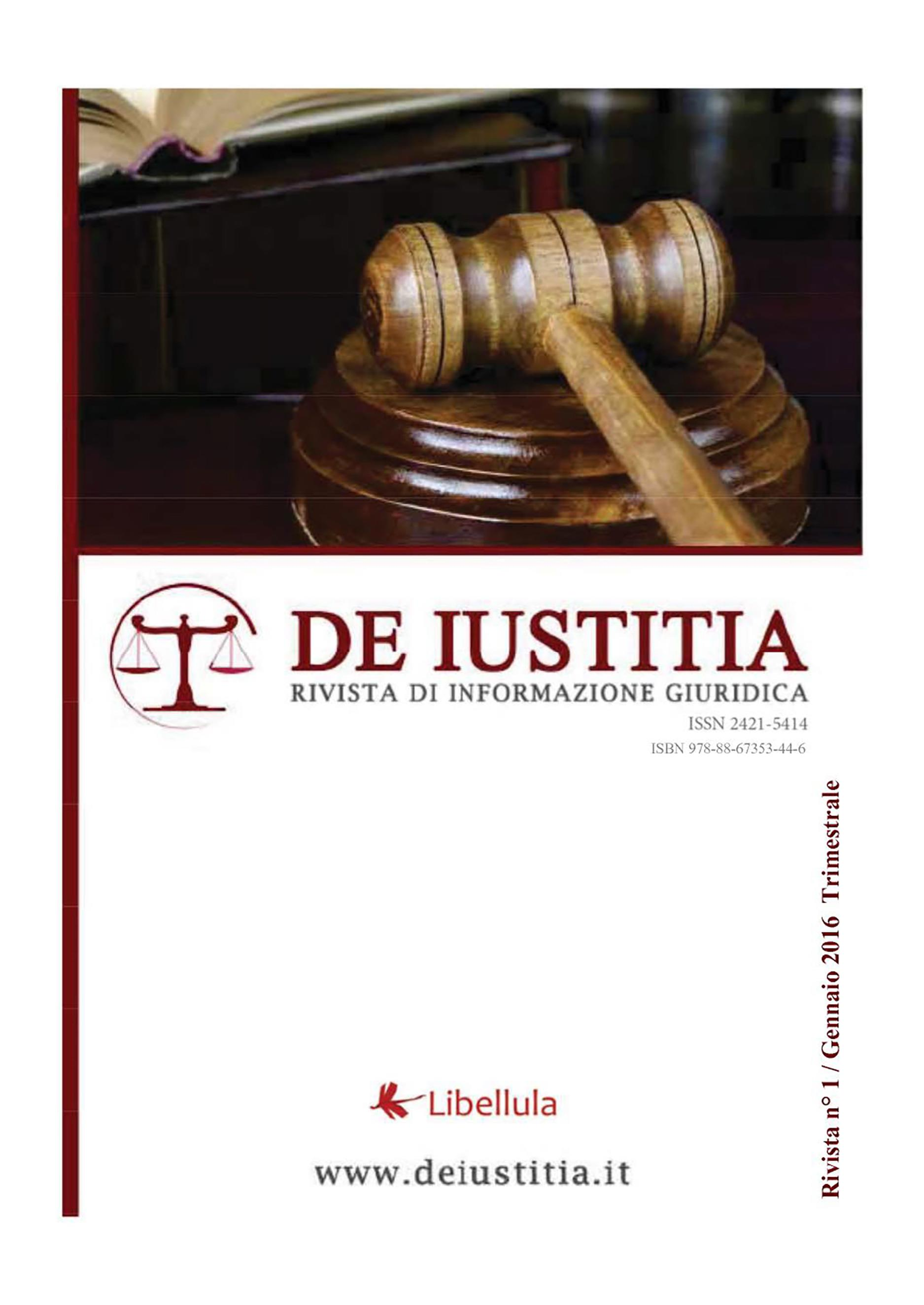 De Iustitia - Rivista di informazione giuridica - N. 1 Gennaio 2016