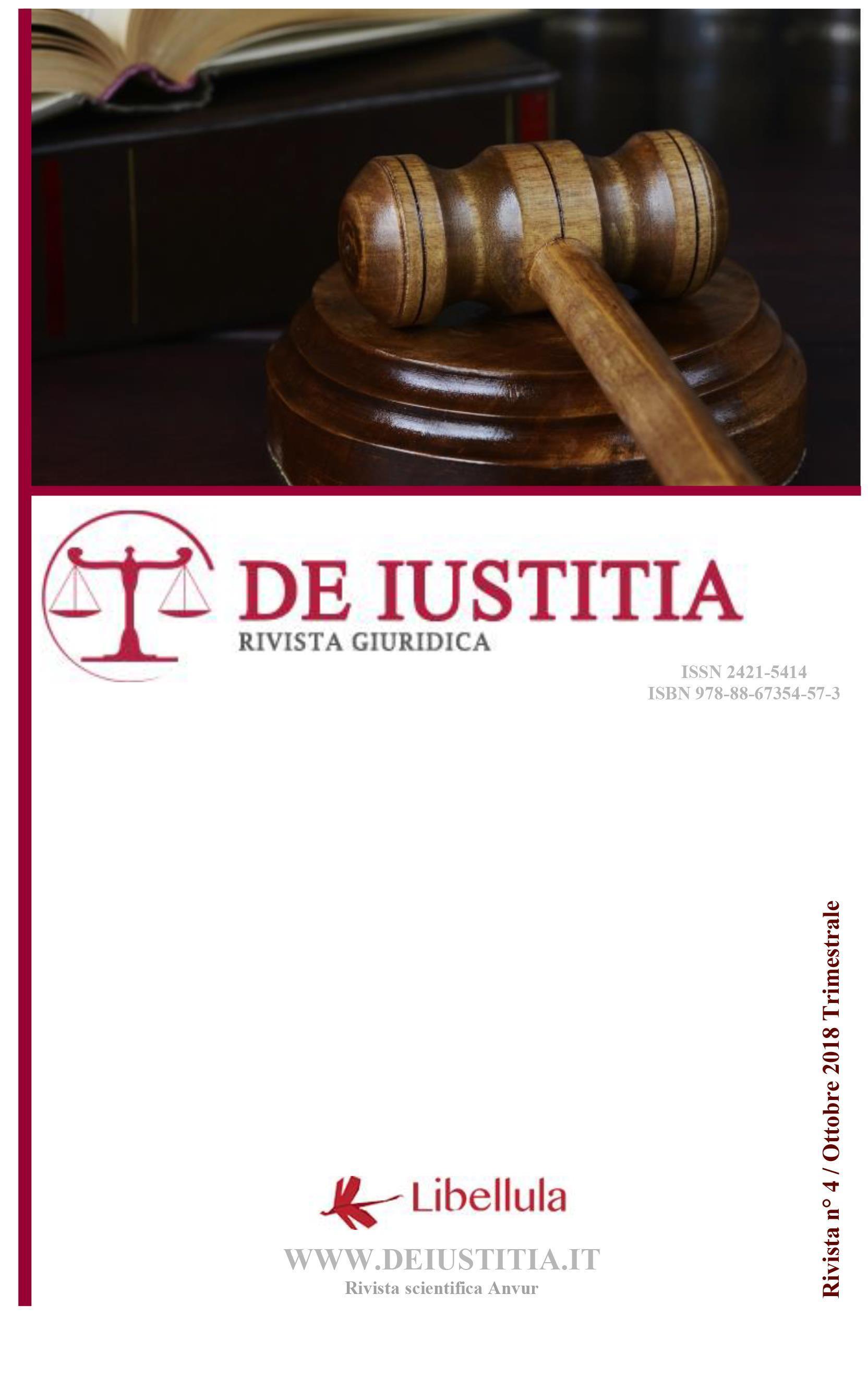 De Iustitia - Rivista di informazione giuridica - N. 4 Ottobre 2018