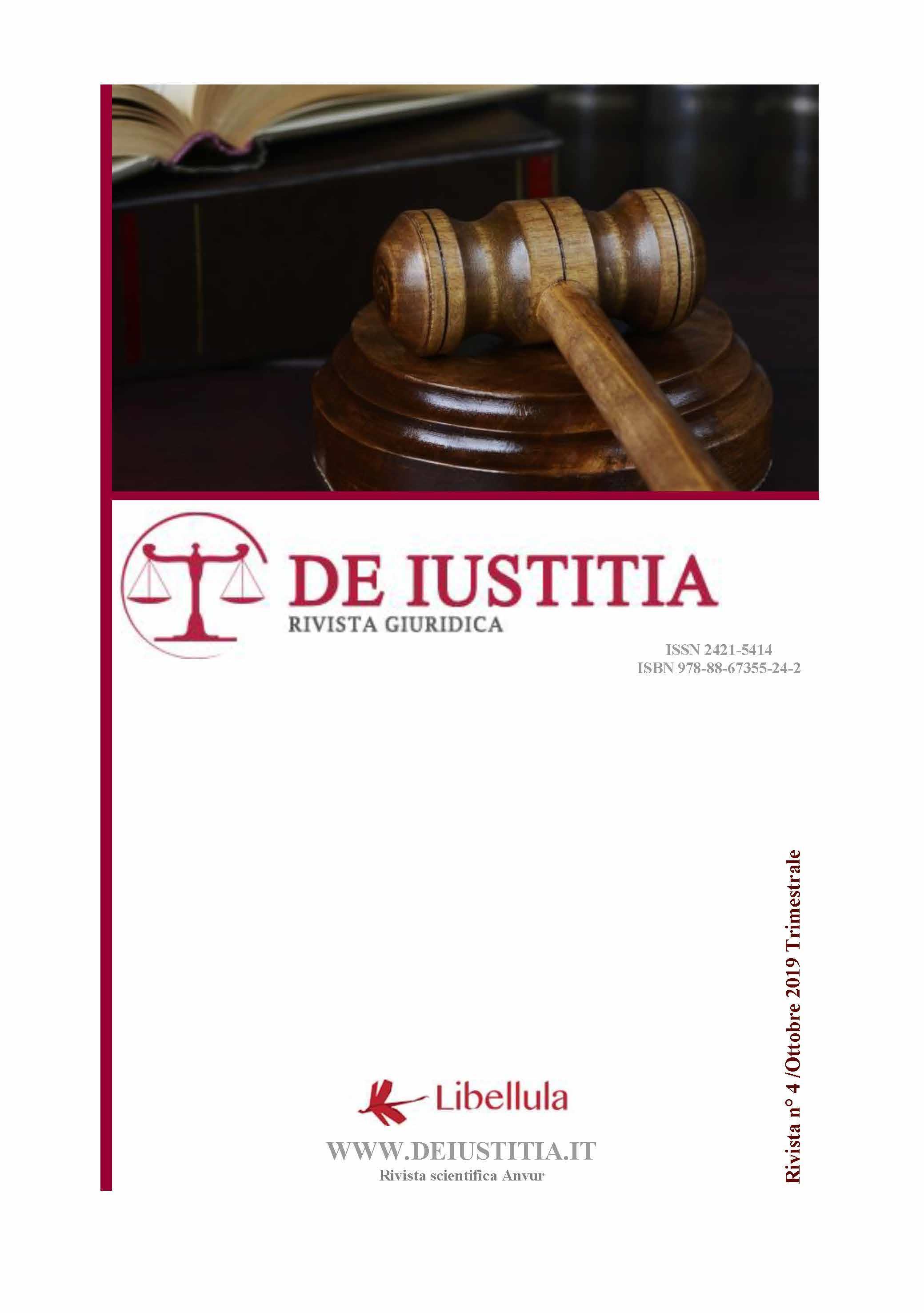 De Iustitia - Rivista di informazione giuridica - N. 4 Ottobre 2019