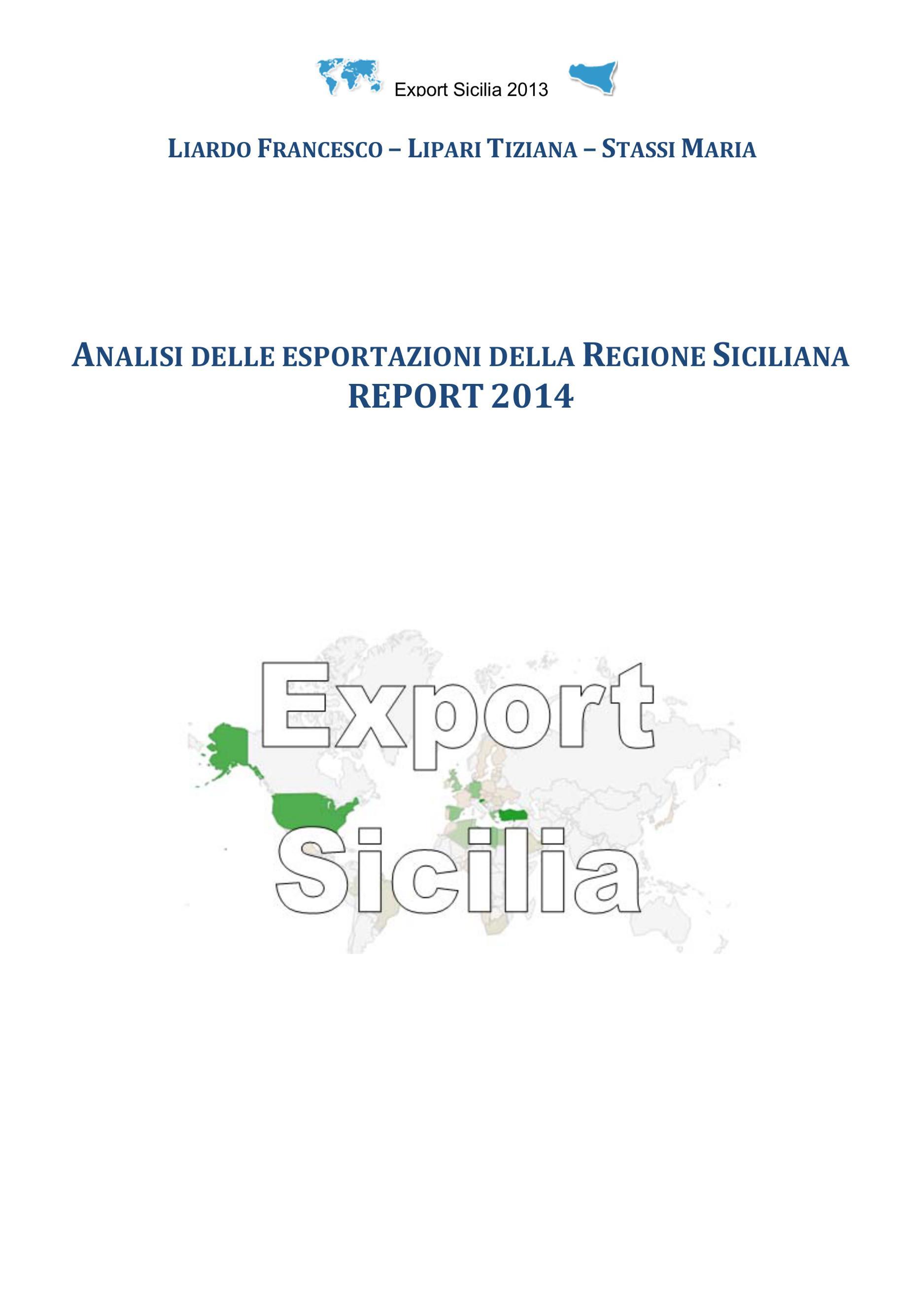 Analisi delle esportazioni della Regione Siciliana report 2014