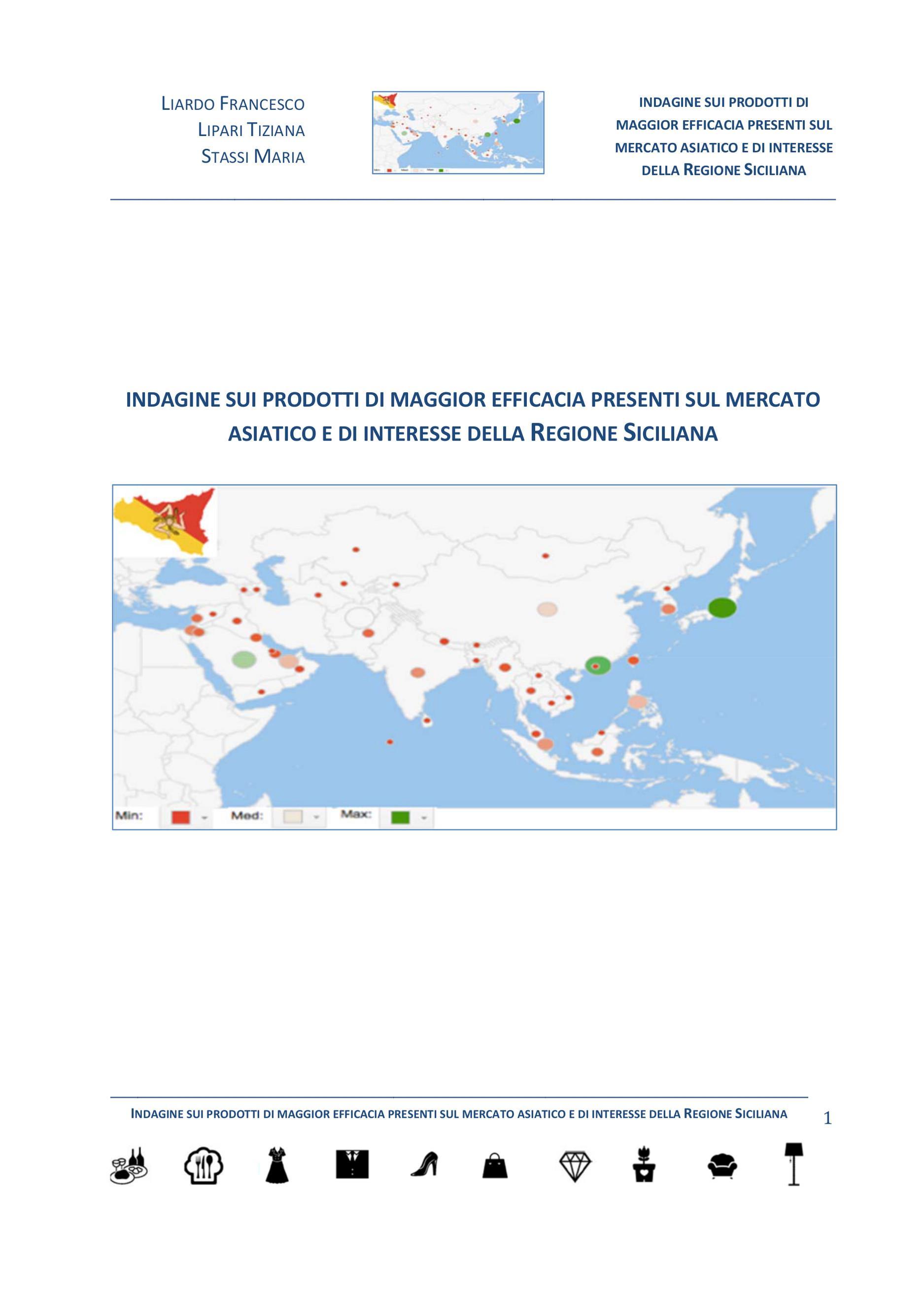 Indagine sui prodotti di maggior efficacia presenti sul mercato asiatico e di interesse della Regione Siciliana