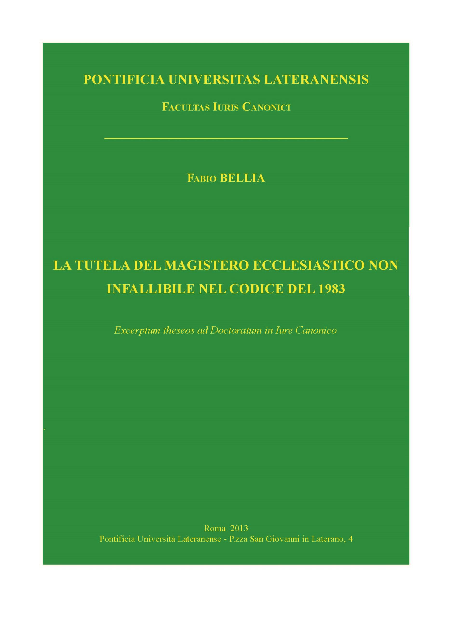 La tutela del magistero ecclesiastico non infallibile nel Codice del 1983