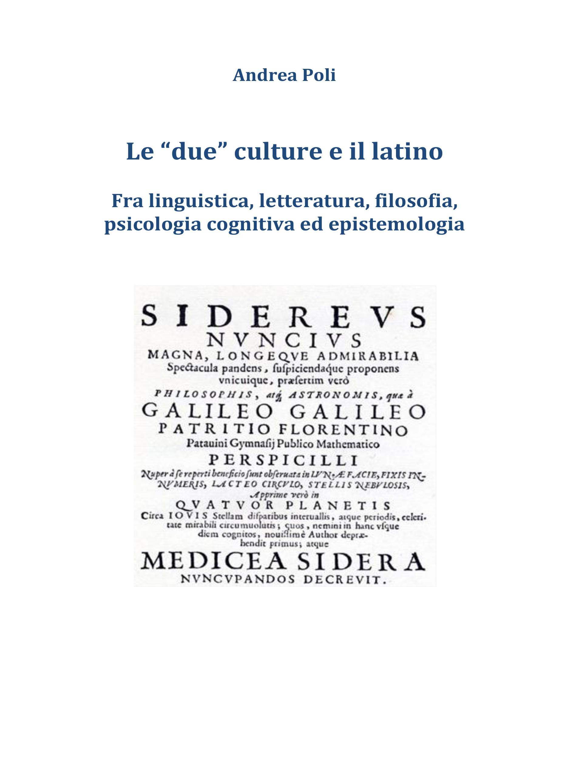 Le due culture e il latino