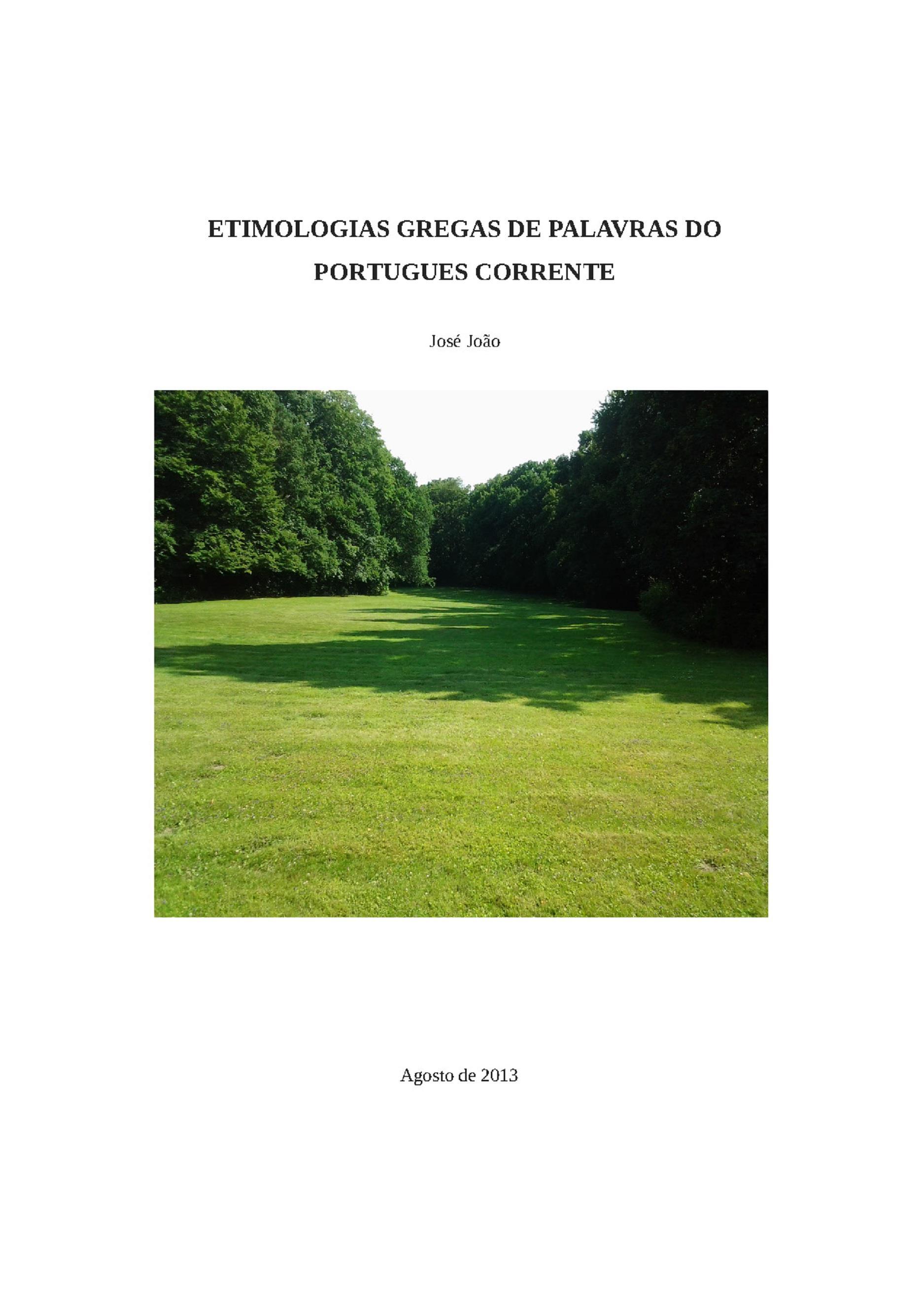 Etimologias gregas de palavras do portugues corrente
