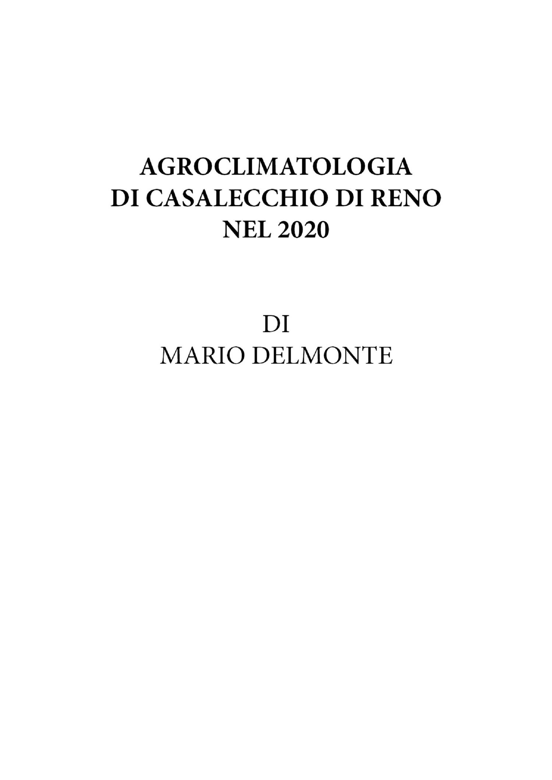 Agroclimatologia Di Casalecchio Di Reno Nel 2020