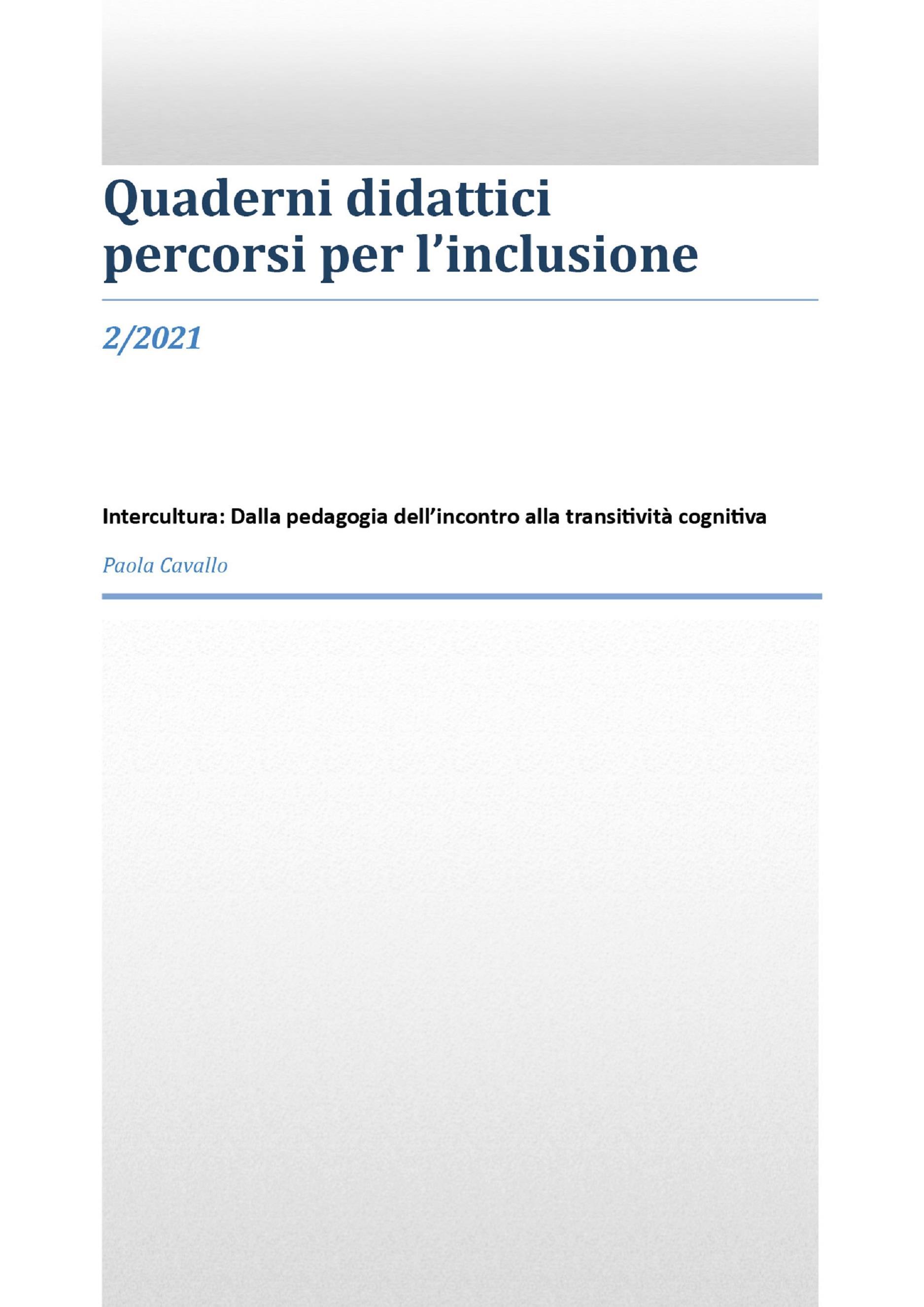 Intercultura: dalla pedagogia dell'incontro alla transitività cognitiva