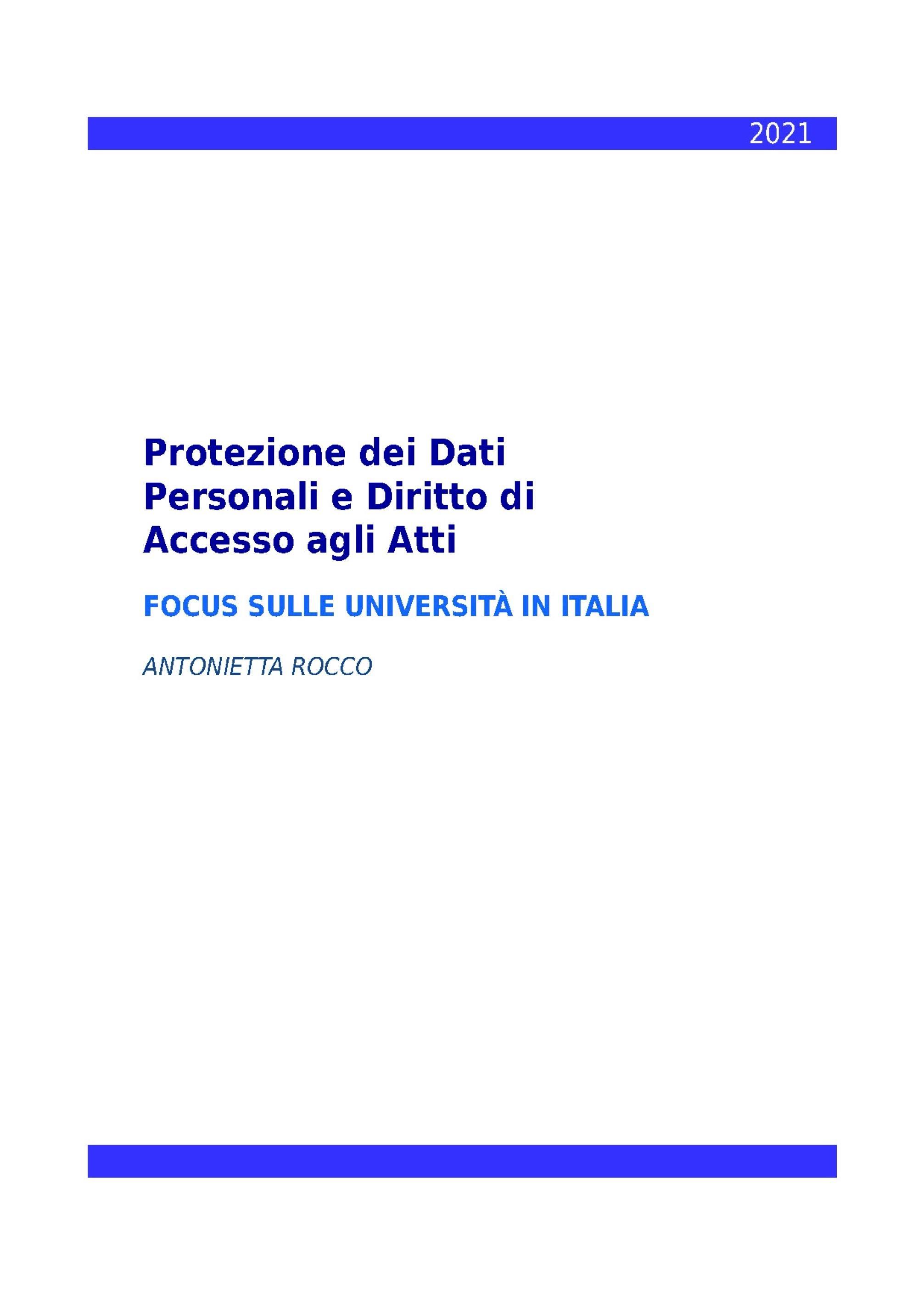 Protezione dei Dati Personali e Diritto di Accesso agli Atti - Focus sulle Università in Italia