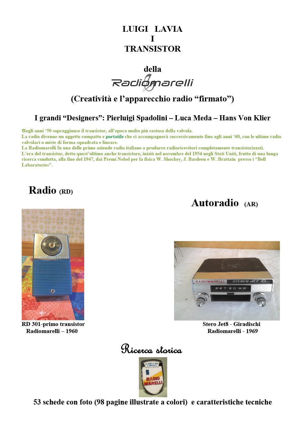 I Transistor della Radiomarelli (La Creatività- Radio (RD) - Autoradio (AR)