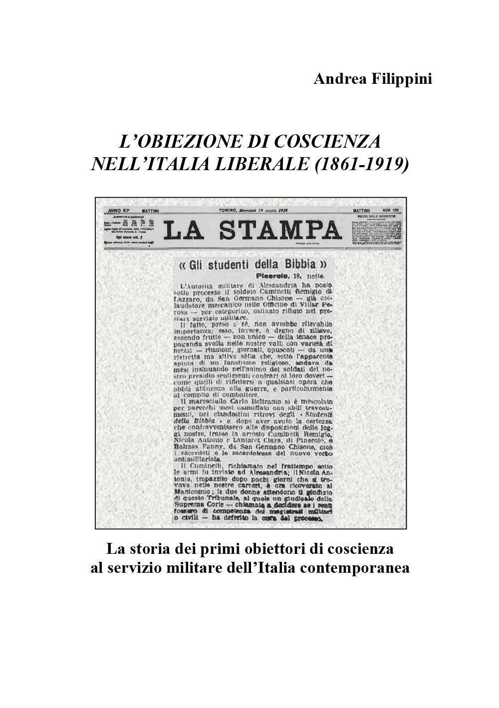 L'obiezione di coscienza nell'Italia liberale (1861-1919)