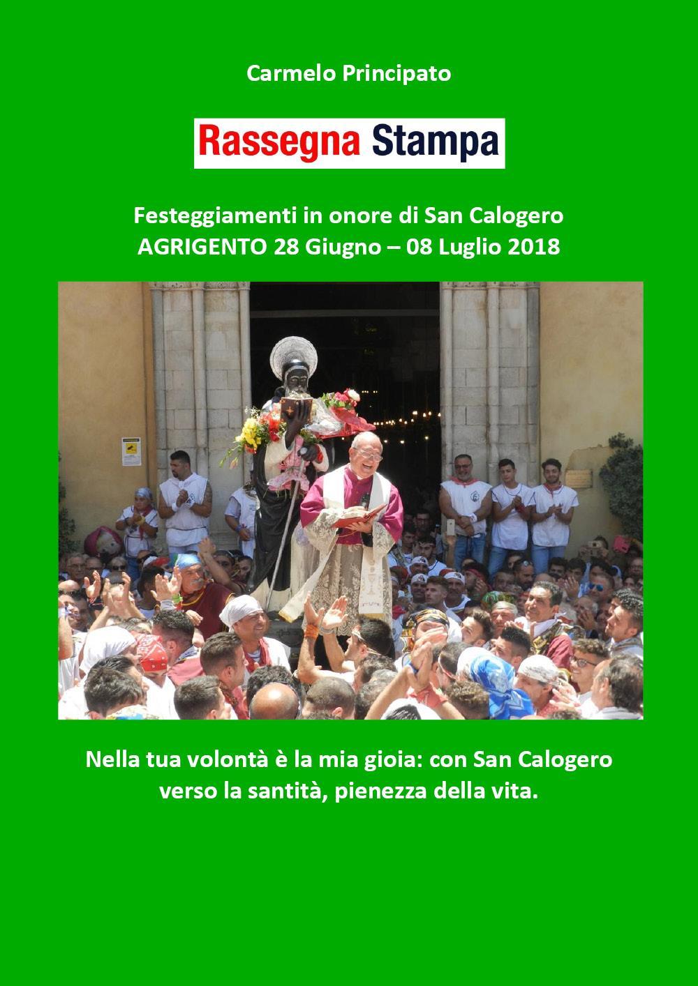 Rassegna Stampa - Festeggiamenti in onore di San Calogero - Agrigento 28 Giugno-08 Luglio 2018