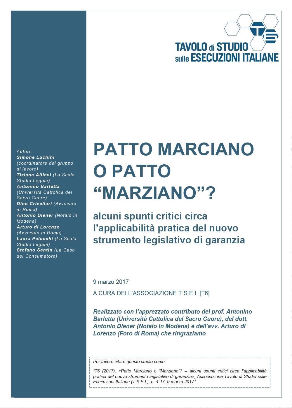 """PATTO MARCIANO O PATTO """"MARZIANO""""? Alcuni spunti critici circa l'applicabilità pratica del nuovo strumento legislativo di garanzia"""