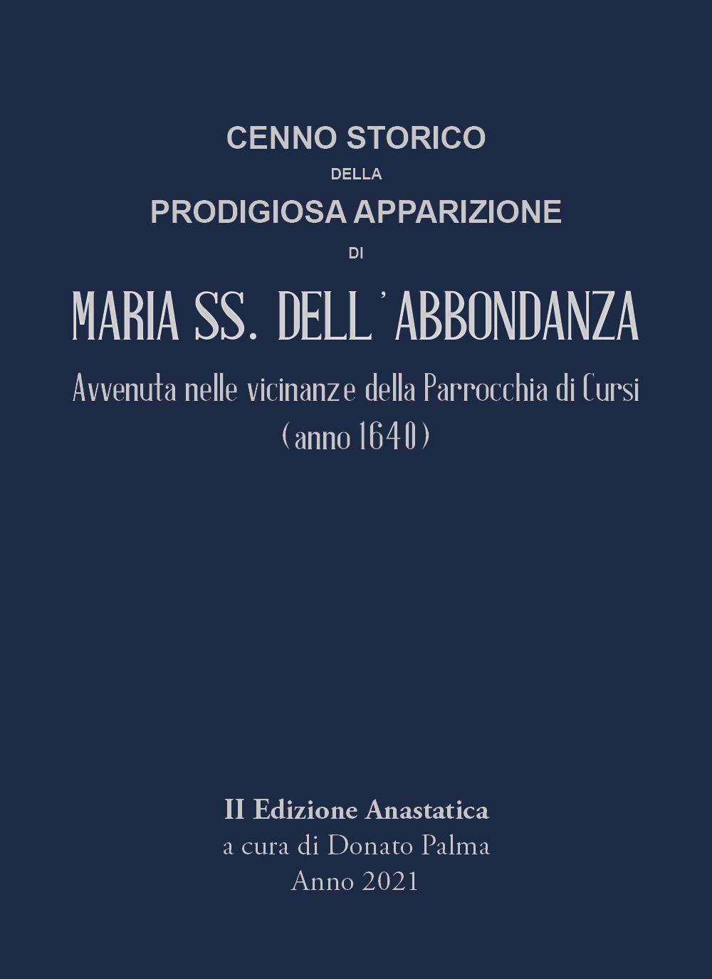 Cenno storico della prodigiosa apparizione di Maria SS. dell'Abbondanza